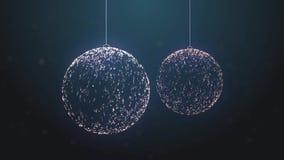 Kretsad blå bakgrund för partikeljulleksaker lager videofilmer
