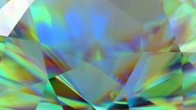 Kretsad mousserande diamant för lyxig gemstone Sömlös öglasbakgrund Blå skinande roterande kristall lager videofilmer