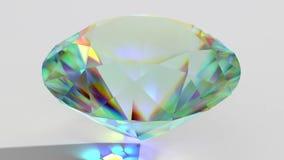 Kretsad mousserande diamant för lyxig gemstone Sömlös öglasbakgrund Blå skinande roterande kristall stock video