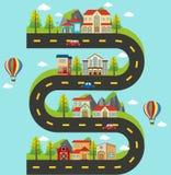 Kretsschema med byggnader och bilar på vägen stock illustrationer