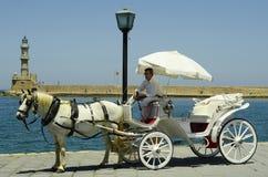 krety Greece trwającego samolot wylądował światło słońca Obraz Royalty Free
