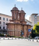 Kretzulescu Church - Red-brick Orthodox church with bell towers dating to the 1720s, plus later icons & interior frescos in Capita stock photography