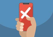 Kreuz angezeigt auf rotem mit Berührungseingabe Bildschirm des modernen Einfassung-freien/frameless Smartphone als Konzept für Au Lizenzfreie Stockbilder