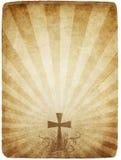 Kreuz auf altem Pergament Stockbilder