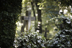 Kreuz auf dem Grab lizenzfreies stockbild