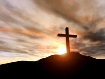 Kreuz auf dem Hügel lizenzfreie abbildung