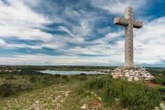 Kreuz auf Kap Kamenjak, Istra, Kroatien Lizenzfreies Stockbild