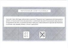 Kreuz auf NEIN auf italienischem Stimmzettel Stockbild