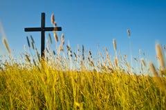 Kreuz auf Wiese lizenzfreie stockfotos