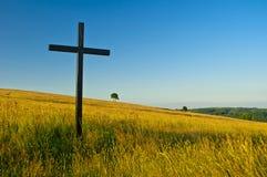 Kreuz auf Wiese lizenzfreies stockbild