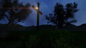 Kreuz in der Natur bis zum Nacht Stockbild