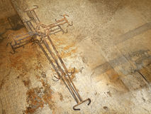Kreuz des rostigen Drahts Lizenzfreies Stockfoto