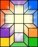 Kreuz im Buntglas Stockbilder