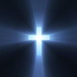 Kreuz mit blauen hellen Aufflackern Stockfoto
