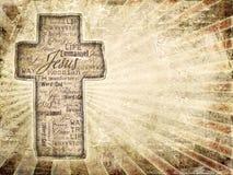 Kreuz mit frommen Wörtern auf grunge Hintergrund. Stockfotografie