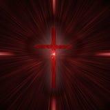 Kreuz mit Lichtstrahlen stockbild