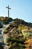 Kreuz oben auf Berg Stockfoto
