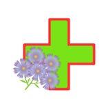 Kreuz und Blumen. Lizenzfreie Stockfotografie