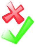 Kreuz-und Grün-Häckchen Stockbild