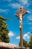 Kreuz und Jesus-christus bei Eglise Marie Madeleine in Rennes Le Lizenzfreie Stockfotos