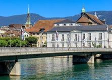 Kreuzackerbruecke bro i Solothurn, Schweiz Arkivfoto