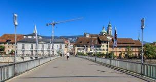 Kreuzackerbruecke bro i Solthurn, Schweiz Fotografering för Bildbyråer