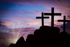 Kreuze auf einem Hügel Stockfotografie