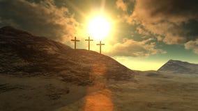 Kreuze auf Kalvarienberg-Hügel stock abbildung