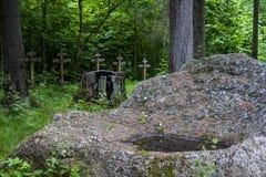 Kreuze von Gräbern im Wald Lizenzfreies Stockbild