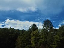 Kreuzende Hochspannungslinien nahe Erwin, North Carolina Lizenzfreie Stockfotos