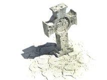 Kreuzförmiger Grabstein mit Ripzeichen Stockbild