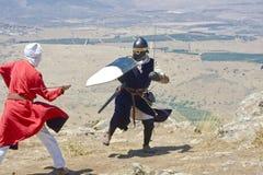 Kreuzfahrer, der Saracene kämpft Lizenzfreies Stockfoto