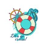 Kreuzfahrt auf der Zwischenlage Marinethemen Sommerreise Meer und Ozean stock abbildung
