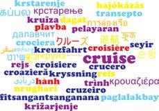 Kreuzfahrt mehrsprachiges wordcloud Hintergrundkonzept Lizenzfreie Stockbilder