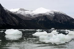 Kreuzfahrtboot in Fjord Pia lizenzfreie stockfotos