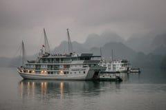 Kreuzfahrtkramboot sitzt unter Nebel des frühen Morgens Lizenzfreie Stockfotos