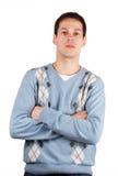 Kreuzhände des jungen Mannes Lizenzfreies Stockfoto