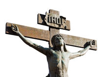Kreuzigung des Jesus Christus Stockfotos