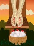 Kreuzigung mit Korb der Eier Stockfotografie