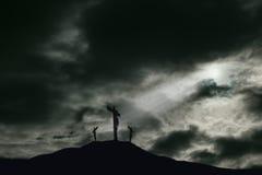 Kreuzigung von Jesus auf Golgotha mit Kopien-Raum lizenzfreies stockfoto