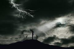 Kreuzigung von Jesus auf Golgotha mit Kopien-Raum Stockfotos