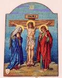 Kreuzigungs-Mosaik-alte Basilika Guadalupe Mexiko City Mexiko Stockfoto