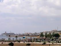 Kreuzschiff Costa Concordia festgemacht im Hafen Lizenzfreie Stockfotos