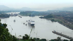 Kreuzschiff (Hollandamerica-Kreuzfahrt Linie) in Panamakanal stock video
