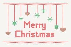 Kreuzstich-frohe Weihnachten stockfotos