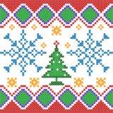 Kreuzstich-Stickerei-Weihnachtsdesign für nahtlose Musterbeschaffenheit stock abbildung