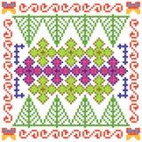 Kreuzstich-Stickereiblumenmuster für nahtlose Musterbeschaffenheit lizenzfreie abbildung
