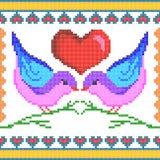 Kreuzstich-Stickereiliebes-Vogeldesign für nahtlose Musterbeschaffenheit lizenzfreie abbildung