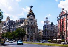 Kreuzung Calle de Alcalas und des Gran über. Madrid Stockfoto