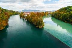 Kreuzung der Rhônes und des Arve Stockfotografie